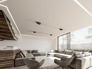 Lujosa Residencia moderna Salones minimalistas de Rebora Arquitectos Minimalista