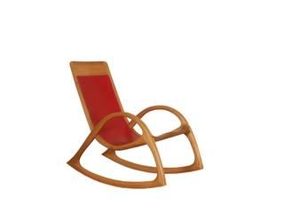 Schaukelstuhl mit rotem Leder: modern  von Holzarbeiten André Findeisen,Modern