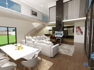 CASA PILARES DE PEDRA / BRASILIA-DF Corredores, halls e escadas modernos por Inglobal planejamentos Moderno