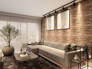 D.O.S. Arquitetura Living room Bricks Grey