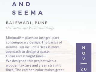 2BHK Gaurav and Seema | Balewadi, Pune | 2017:  Houses by Nikhil Kanthe,Minimalist