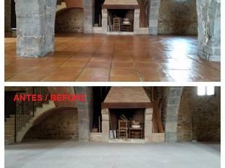 Obra limpieza y proteccion suelo de barro terracota de INDUSTRIAL MORA DE BARNICES, S.L.
