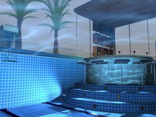 Vista Mergulho Piscina Pool Bar: Piscinas infinitas  por Arch Design Concept,Moderno Azulejo