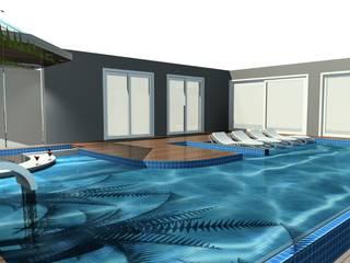Vista plana Piscina Pool Bar: Piscinas infinitas  por Arch Design Concept,Moderno Azulejo