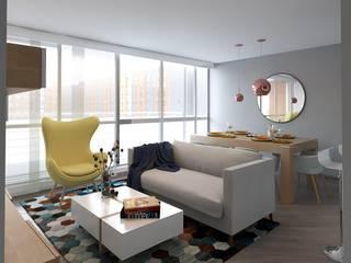 Remodelación apto conjunto monterrey barrio san rafael Moss arquitectura y mobiliario SAS Salas de estilo moderno Madera Multicolor