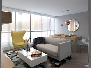 Moss arquitectura y mobiliario SAS Salon moderne Bois Multicolore