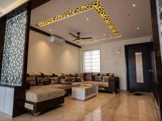 Nabh Design & Associates Moderne Wohnzimmer Marmor Beige