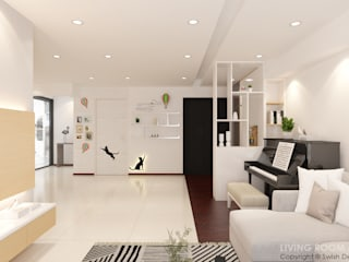 Swish Design Works Modern corridor, hallway & stairs White