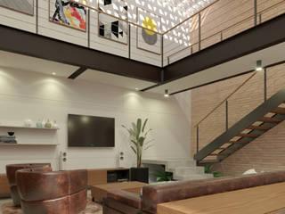 Livings de estilo industrial de studio vtx Industrial