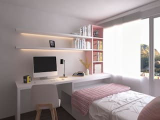 Moss arquitectura y mobiliario SAS Small bedroom Wood Pink