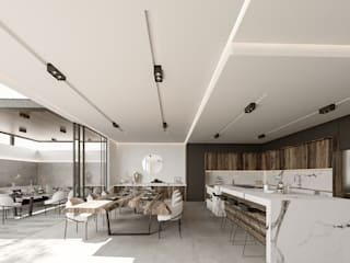 Impactante diseño de residencia moderna Cocinas modernas de Rebora Arquitectos Moderno