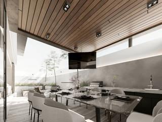 Impactante diseño de residencia moderna Balcones y terrazas modernos de Rebora Arquitectos Moderno