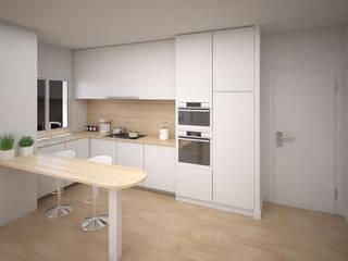 Diseño de cocina integrada de ARQUIJOVEN SLP Moderno Aglomerado