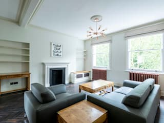 Full refurbishment of apartment in Kensington Modern living room by Prestige Architects By Marco Braghiroli Modern