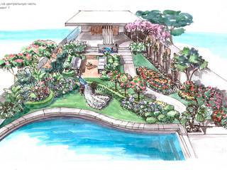 Визуализация ландшафта эскиз Бассейн в средиземноморском стиле от MollyArt Средиземноморский