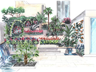 Визуализация ландшафта эскиз Дома в средиземноморском стиле от MollyArt Средиземноморский