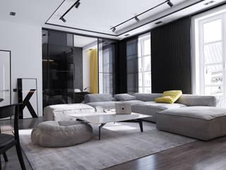 Дизайн-проект 2-к комнатной квартиры в современном стиле Гостиная в стиле минимализм от izidizi.com Минимализм