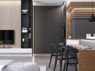 Дизайн-проект 2-к комнатной квартиры в современном стиле Столовая комната в стиле минимализм от izidizi.com Минимализм