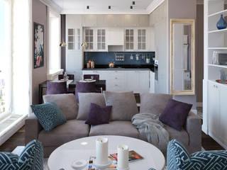 Дизайн-проект 2-к квартиры в стиле современной классики Гостиная в классическом стиле от izidizi.com Классический