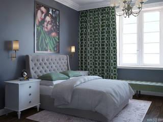 Дизайн-проект 2-к квартиры в стиле современной классики Спальня в классическом стиле от izidizi.com Классический