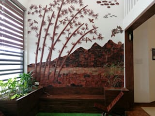 Terracotta murals on wall Rustic style corridor, hallway & stairs by Yuvarti Craft Rustic