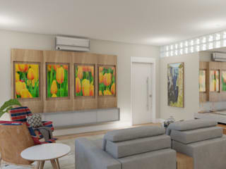 Tropical style media room by Elaine Hormann Architecture -Sao Paulo - Hamburgo Tropical