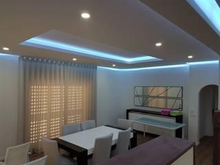 Tectos falsos interior + sistemas de Leds Salas de estar modernas por REFLEXEQUATION LDA Moderno
