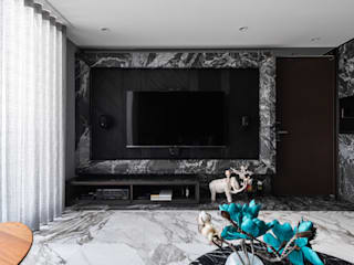 你你空間設計 Modern living room Marble Black