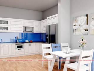 Vẻ đẹp nổi bật của mẫu tủ bếp gỗ sồi nga sơn trắng tại Nội thất Nguyễn Kim bởi Nội thất Nguyễn Kim