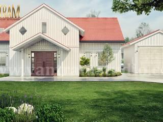 Visualizzazione architettonica moderna della fattoria 3d con progettazione del paesaggio del cortile anteriore da Architectural Animation Services Case moderne di Yantram Design Studio di architettura Moderno