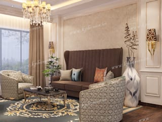 Luxury Apartment - Bar and Lounge Room Colonial style living room by Kphomes Colonial