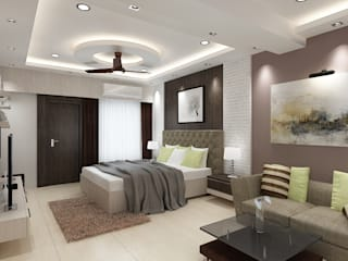Master Bedroom with a Seating Area Concept:  Bedroom by Kphomes,Modern