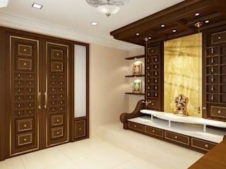 Pooja Room Concept:  Living room by Kphomes,Classic
