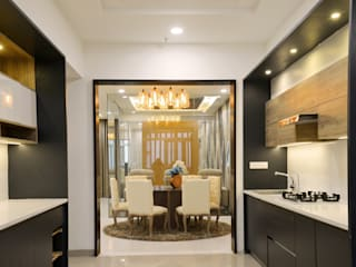 A sky villa with royalty and luxury KREATIVE HOUSE KitchenCabinets & shelves Plywood Grey