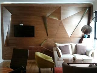 emARTquitectura Arte y Diseño コロニアルデザインの リビング 木 ブラウン