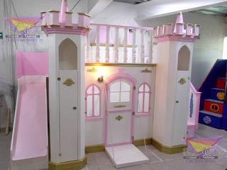 Precioso castillo Dorado de camas y literas infantiles kids world Clásico Derivados de madera Transparente
