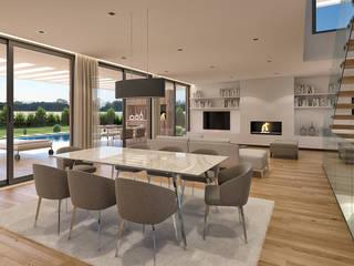 CASA RP1 - Moradia em Oeiras - Projeto de Arquitetura Salas de estar modernas por Traçado Regulador. Lda Moderno Madeira Efeito de madeira