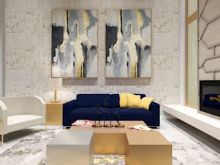 A.DESIGN Salones eclécticos Ámbar/Dorado
