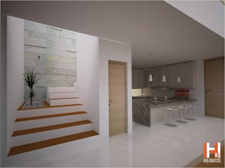Modern corridor, hallway & stairs by HHRG ARQUITECTOS Modern