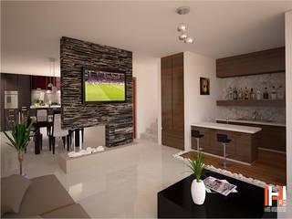 Living room by HHRG ARQUITECTOS, Minimalist