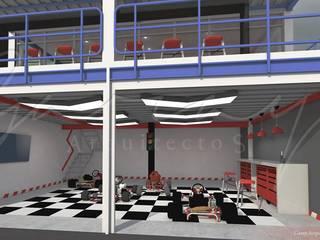 Pits Kartódromo Espacios comerciales de estilo moderno de GARAY ARQUITECTOS Moderno
