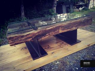 """Ława industrialna """"BŁAY KRUK"""" ze starych belek dębowych od STUDIO OSHEI - stoły, ławy z litego drewna, designerskie meble industrialne. Industrialny"""