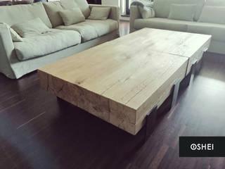 Dębowa ława Monlith od STUDIO OSHEI - stoły, ławy z litego drewna, designerskie meble industrialne. Industrialny