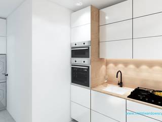 BED minimalizm ocieplony drewnem :) Minimalistyczna kuchnia od mimtwardowscy Minimalistyczny