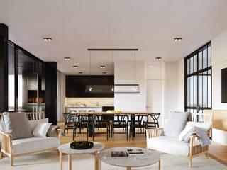 Livings de estilo moderno de SF Render Moderno
