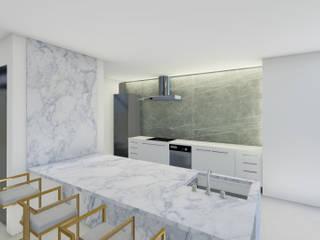 Barreres del Mundo Architects. Arquitectos e interioristas en Valencia. ครัวบิลท์อิน หินอ่อน White