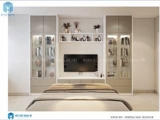 Thiết kế nội thất trọn gói căn hộ cao cấp chung cư Belleza - 75m2 (chị Hương - quận 7) Phòng ngủ phong cách hiện đại bởi Công ty TNHH Nội Thất Mạnh Hệ Hiện đại