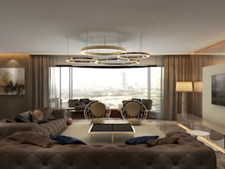 Luxury Modern Apartment Interior Design, Mumbai Modern living room by Ashleys Modern