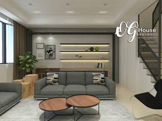 透天厝設計 现代客厅設計點子、靈感 & 圖片 根據 歐居室內設計有限公司 現代風