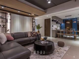 緹奇設計 Ruang Keluarga Modern Parket Grey